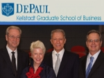 Werner Erhard at DePaul University Business Conference, pictured with Michael Jensen, Gonneke Spits